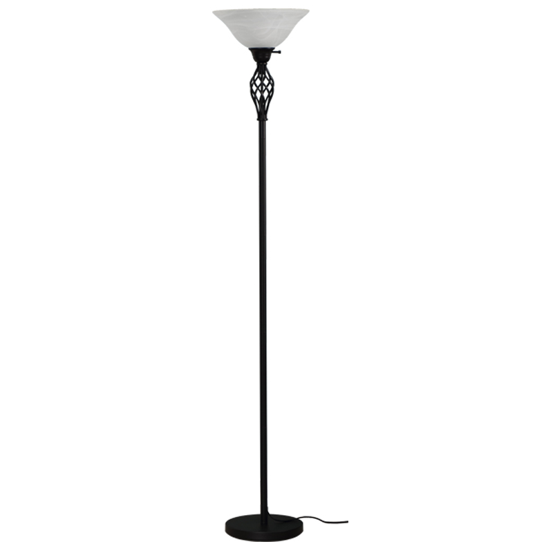 Goodly Classicl Black 71 Inch Torchiere Floor Lamp with Milky Glass shade for Living Room Corner Bedroom Office GL-FLM050 Featured Image