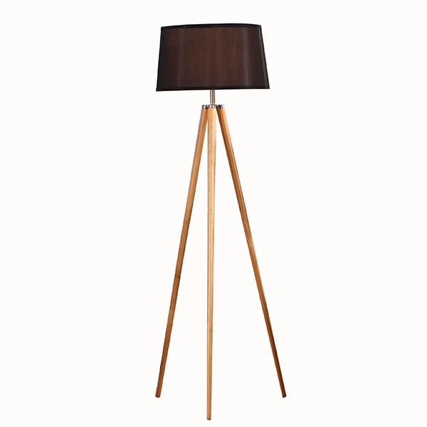 Natural Wood Tripod Floor Lamp