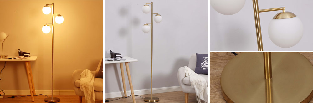 3-head metal globe floor lamp