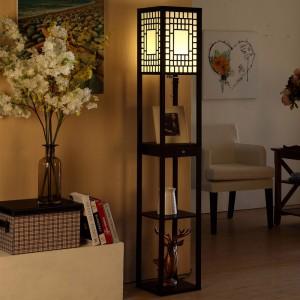 Floor Lamp with Shelves, wood shelf floor lamp | Goodly Light-GL-FLWS011