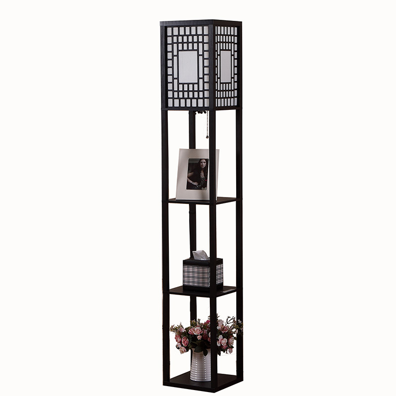 Floor Lamp With Shelves Wood Shelf Goodly
