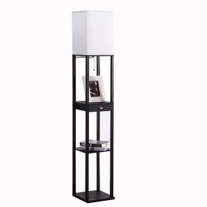 black floor lamp,floor lamp with shelf | Goodly Light-GL-FLWS004