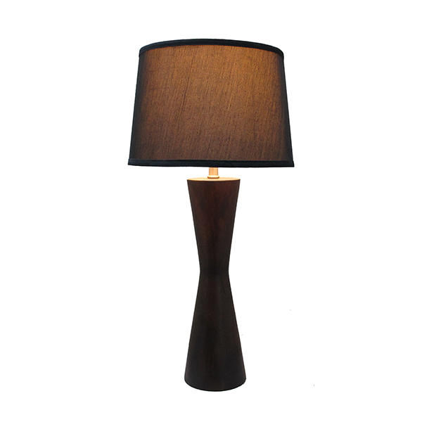 Brown Solid Wood Table Lamp with black fabric shade