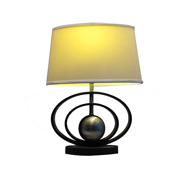 Classic Black & Brushed Steel Finish, Geometric-Sculptured wood Table Lamp with Empire Shade 1