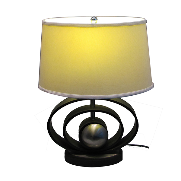 Classic Black & Brushed Steel Finish, Geometric-Sculptured wood Table Lamp with Empire Shade 2