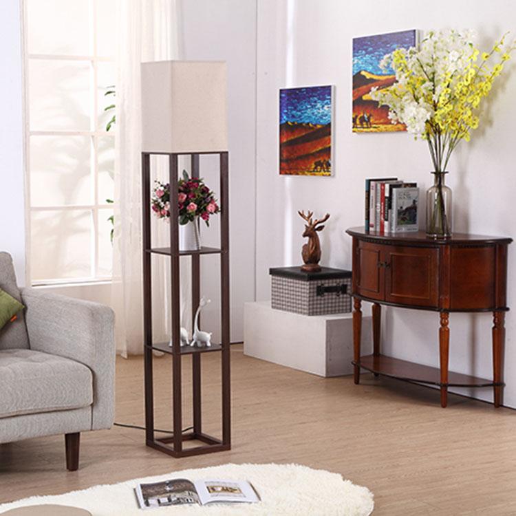 Elegant Wooden Shelf Floor Lamp-3