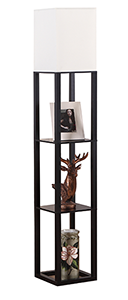 Elegant Wooden Shelf Floor Lamp-black