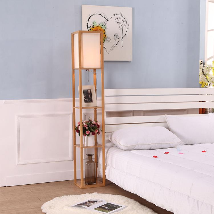 Etagere Organizer Storage Shelf Floor Lamp-Natural