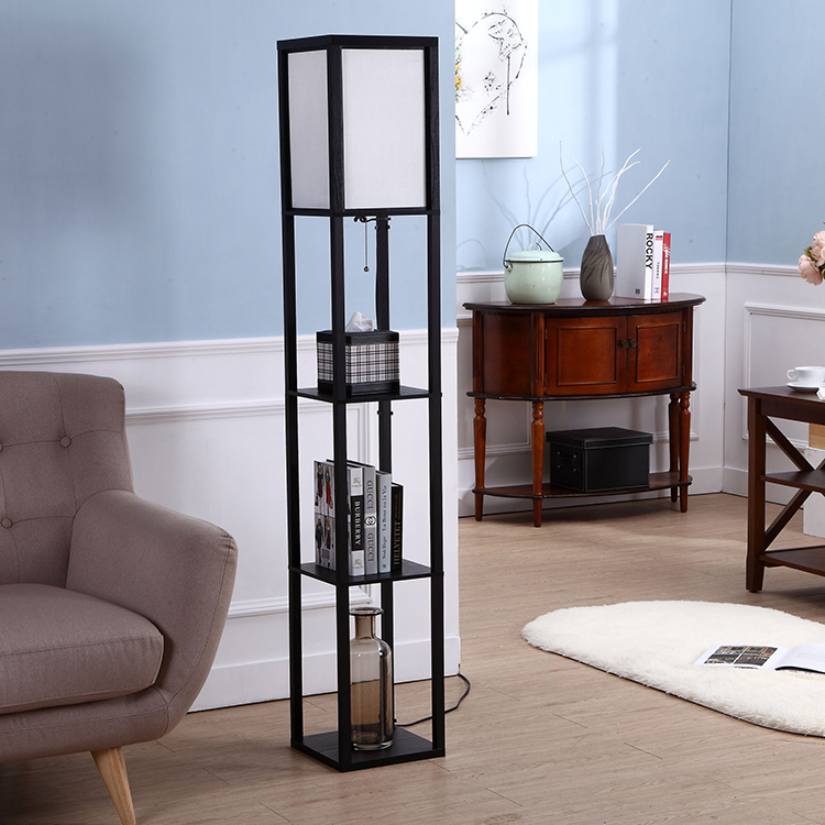 Etagere Organizer Storage Shelf Floor Lamp-black