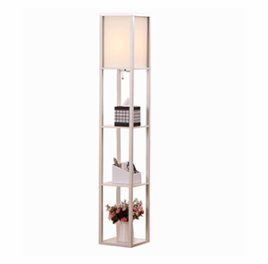 Etagere Organizer Storage Shelf Floor Lamp-white