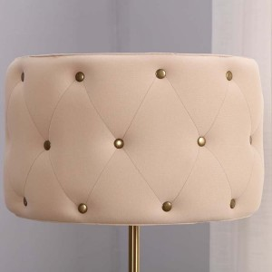 Fabric Lampshade and Antique Brass Metal Body detail 1