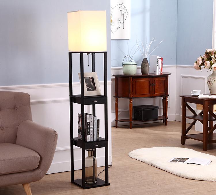 Floor Lamp with Storage Shelves 2