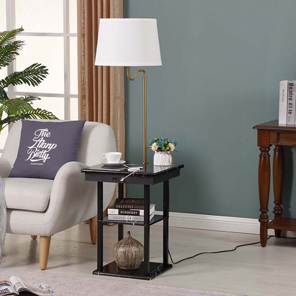 Marble surface USB End Table Lamp, Modern Design Bedside Table Lamps with 5V 2A USB Charging Port 3
