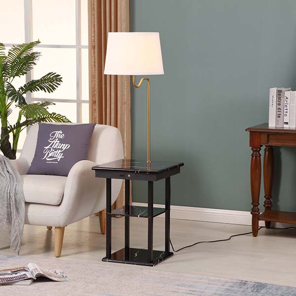Marble surface USB End Table Lamp, Modern Design Bedside Table Lamps with 5V 2A USB Charging Port 4