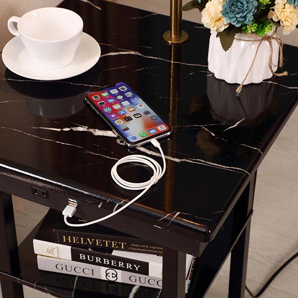 Marble surface USB End Table Lamp, Modern Design Bedside Table Lamps with 5V 2A USB Charging Port-detail 1