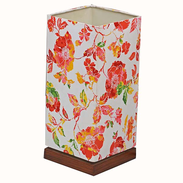 Minimalist Bedside Desk Lamp with Screen flower Square Fabric Shade 1