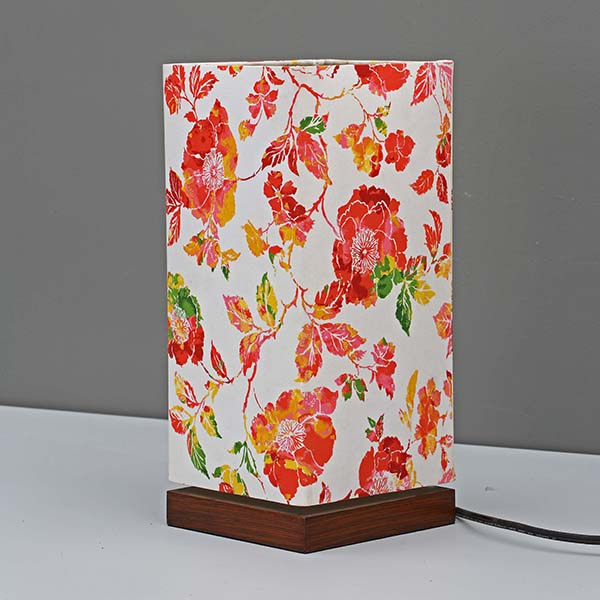 Minimalist Bedside Desk Lamp with Screen flower Square Fabric Shade 2