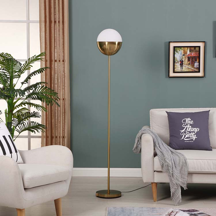Modern Glass shade Brass LED Floor Lamp 1