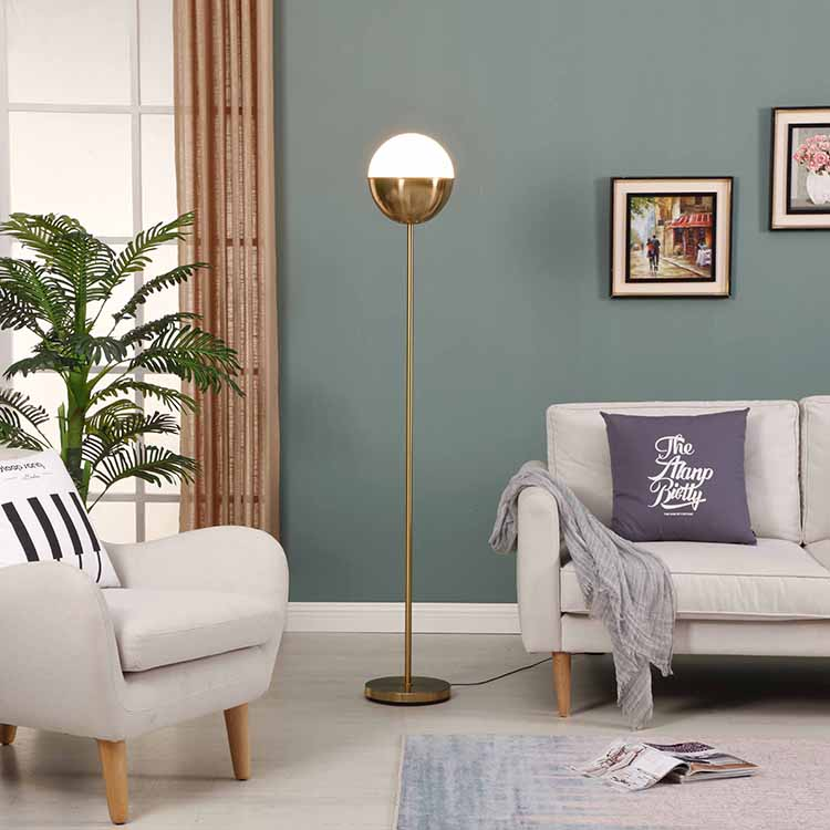 Modern Glass shade Brass LED Floor Lamp 2