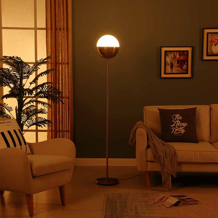Modern Glass shade Brass LED Floor Lamp 3