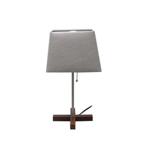Modern Home Decorative Lamp with Grey Square fabric shade—Double Diffused Line–Wood croos Base 1