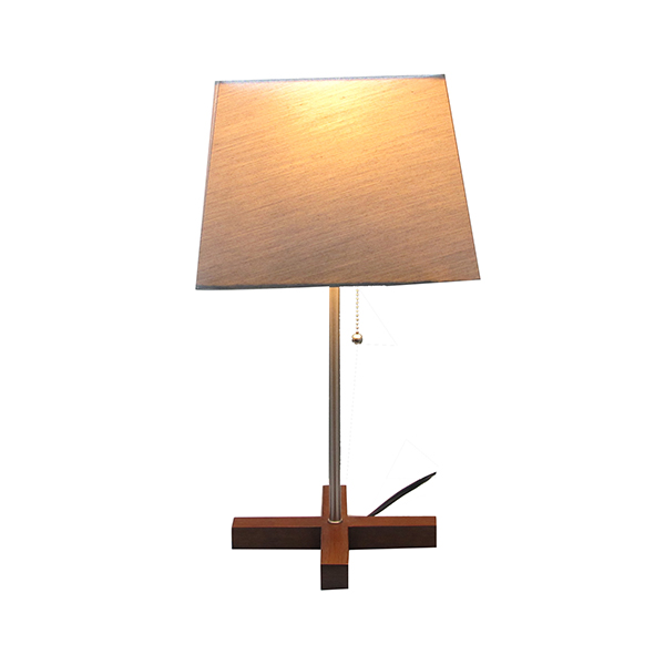 Modern Home Decorative Lamp with Grey Square fabric shade—Double Diffused Line–Wood croos Base 2