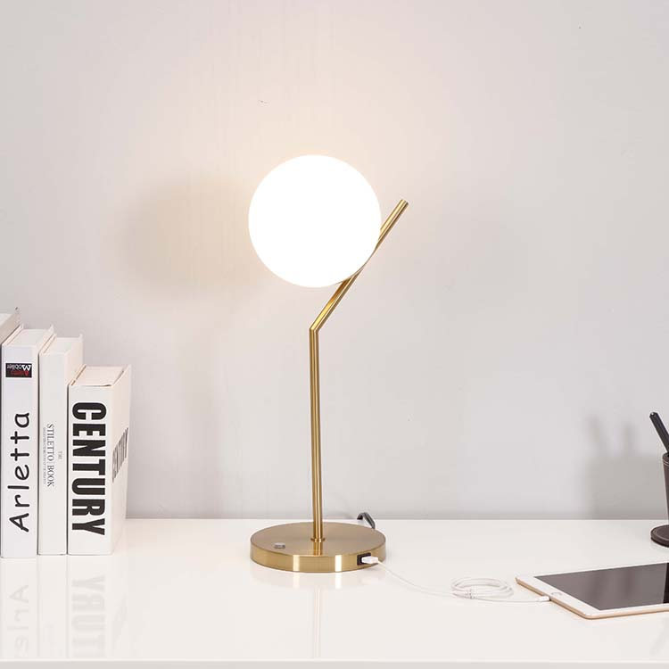 Modern White Globe Glass Shade Table Lamp 2