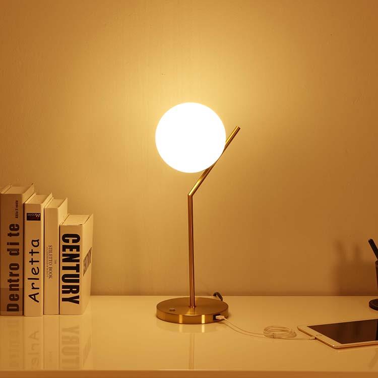 Modern White Globe Glass Shade Table Lamp 3