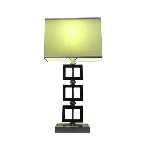 Modern Wood Table Lamp AC Power Outlet in Base Steel Open Rectangle White Shade
