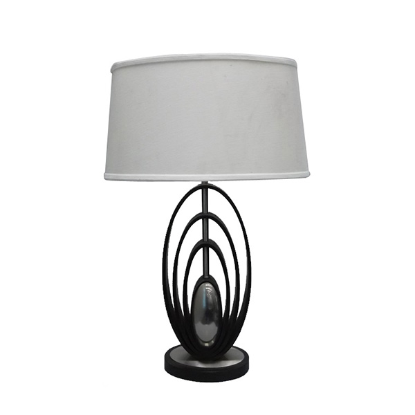 Modern Wood Table Lamps Brushed Steel Off White Oval Shade 1