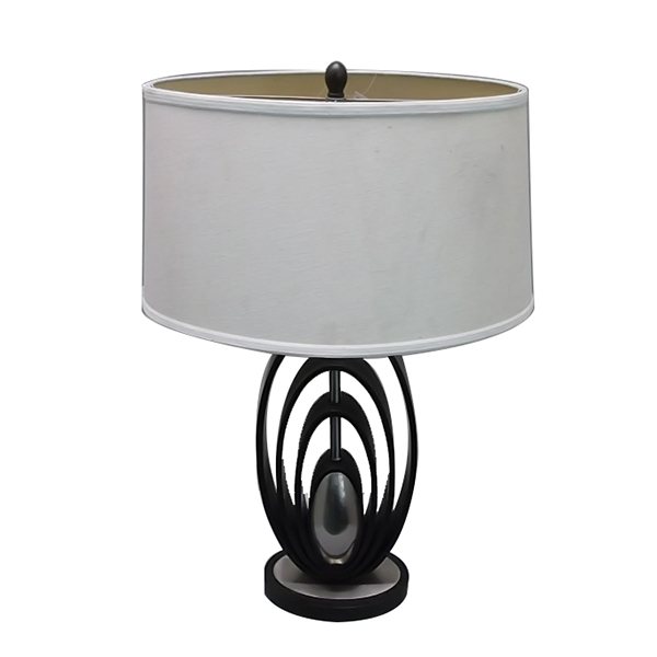 Modern Wood Table Lamps Brushed Steel Off White Oval Shade 2