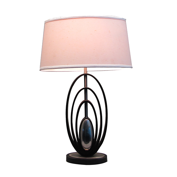 Modern Wood Table Lamps Brushed Steel Off White Oval Shade 3