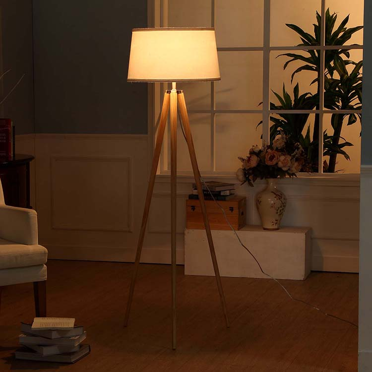 Natural Wood Tripod Floor Lamp-6