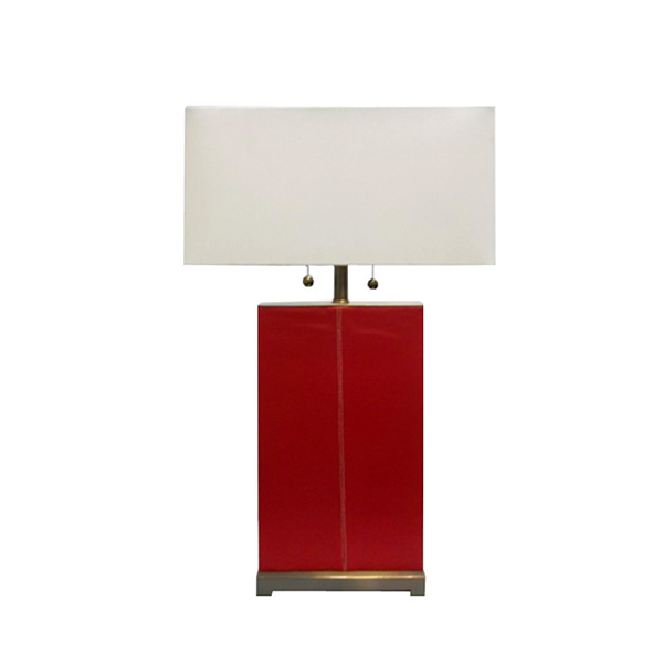 Red Leather Table Lamp 1