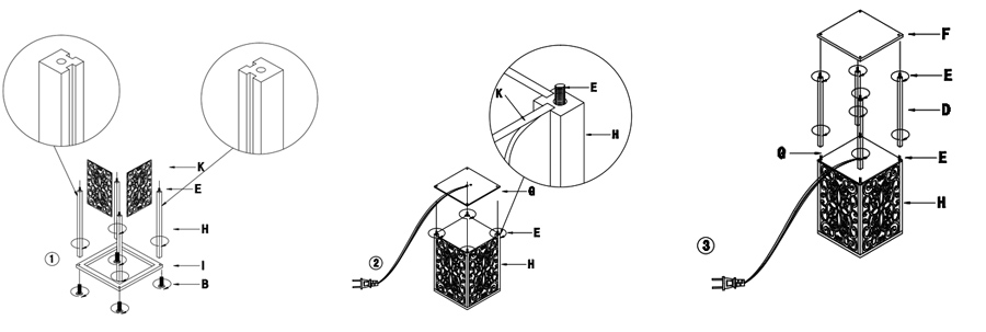 Shelf Floor Lamp Assembly Instruction
