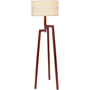 Solid Natural Wood Tripod Floor Lamp 2