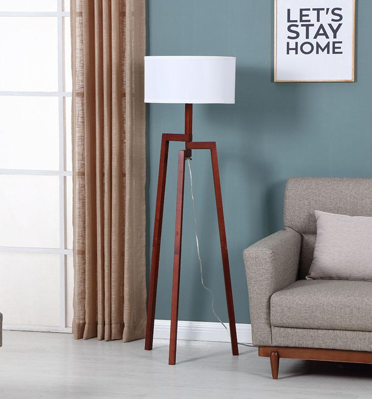 Solid Natural Wood Tripod Floor Lamp 3