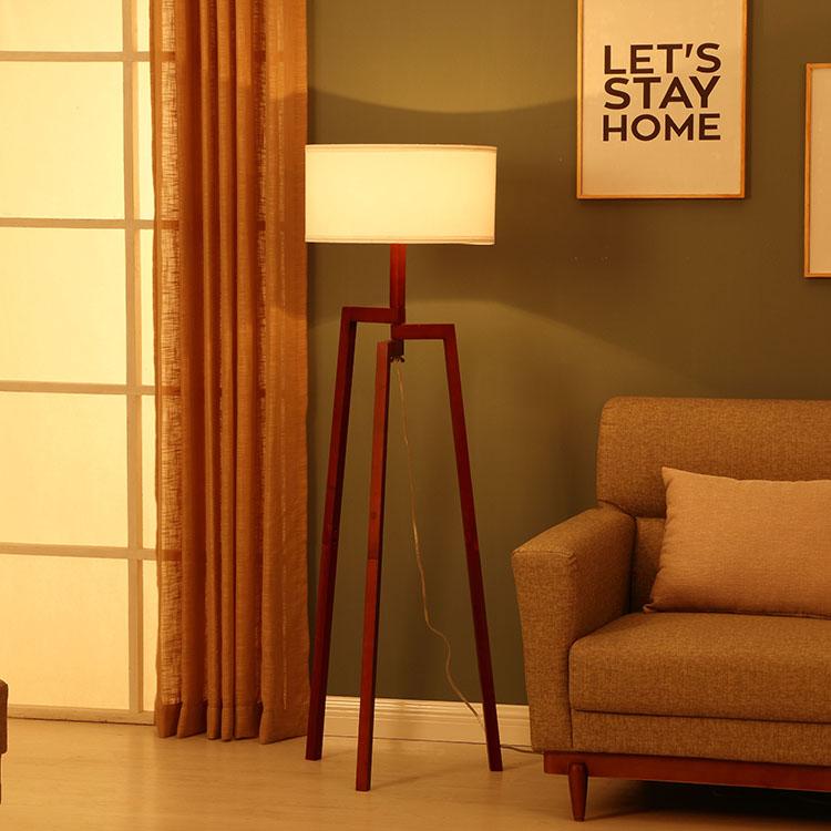 Solid Natural Wood Tripod Floor Lamp 5