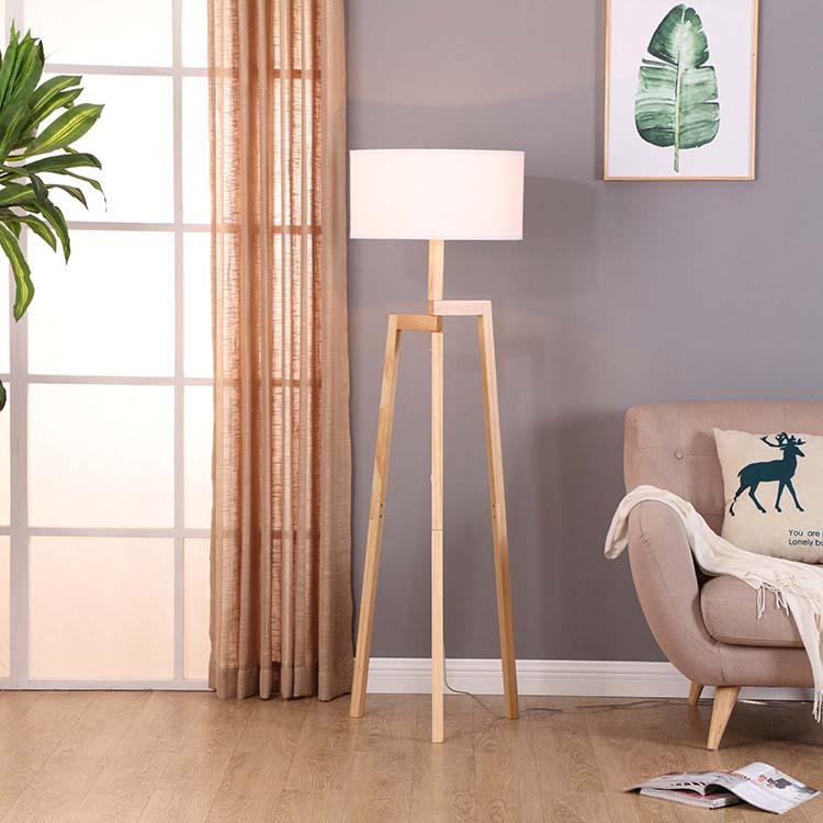 Solid Natural Wood Tripod Floor Lamp 6