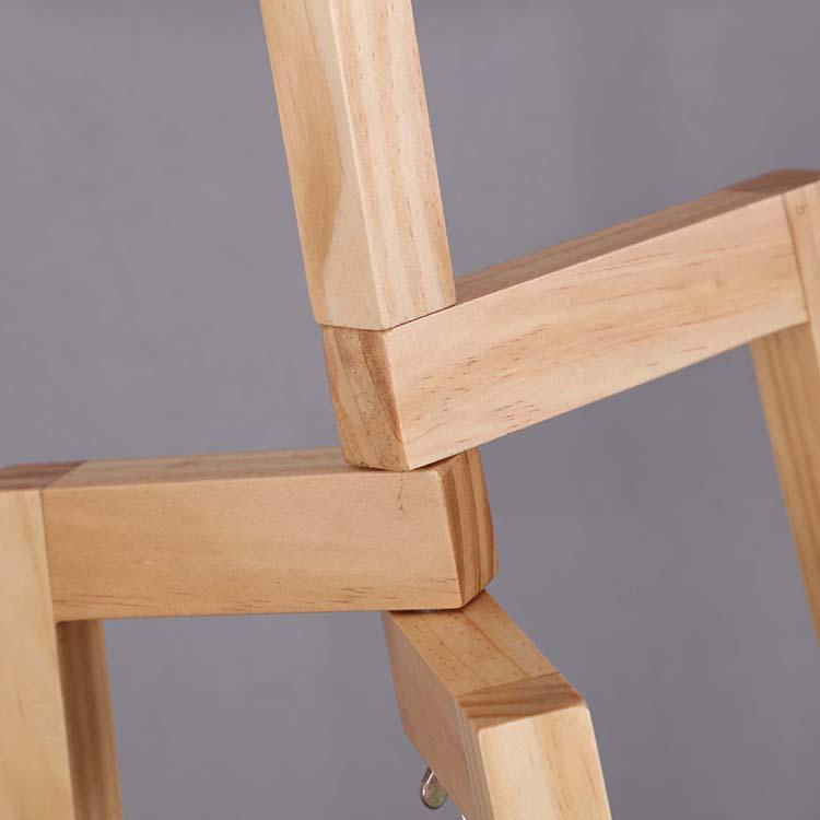 Solid Natural Wood Tripod Floor Lamp details