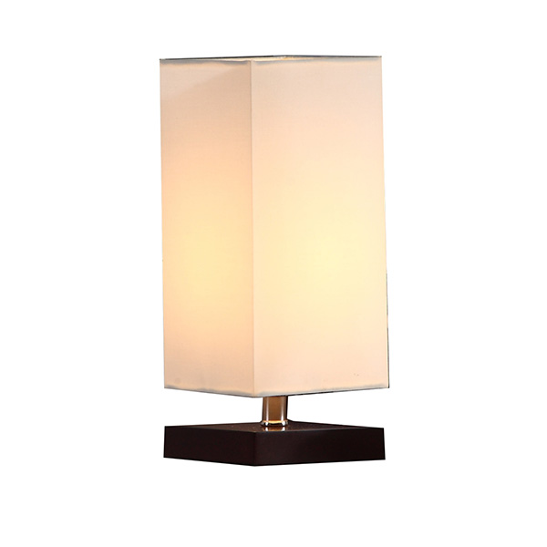 Solid Wood Nightstand Lamp with Unique Shade and Havana Brown Wooden Base 2