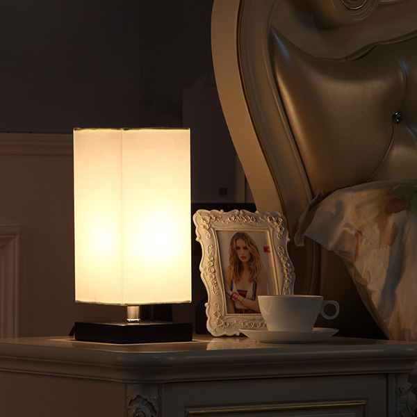 Solid Wood Nightstand Lamp with Unique Shade and Havana Brown Wooden Base 4