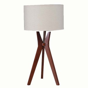 wood tripod table lamp,natural wooden tripod base with beige linen shade  | Goodly Light-GL-TLW007