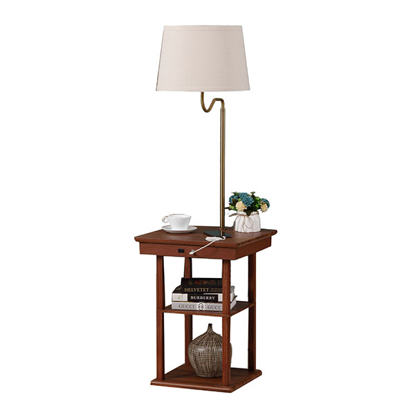 Wanult Bedside Table Lamp with Beige fabric Shade and Useful USB fast Charging Port 1
