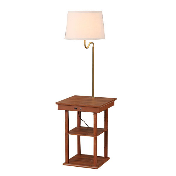 Wanult Bedside Table Lamp with Beige fabric Shade and Useful USB fast Charging Port 2