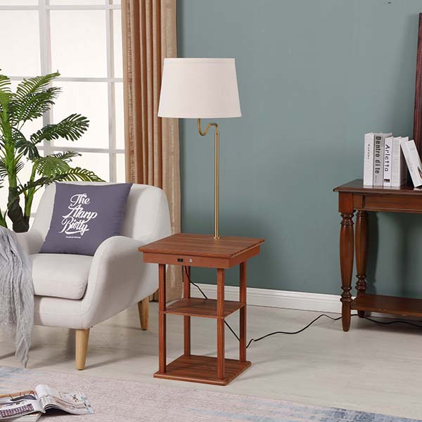 Wanult Bedside Table Lamp with Beige fabric Shade and Useful USB fast Charging Port 3