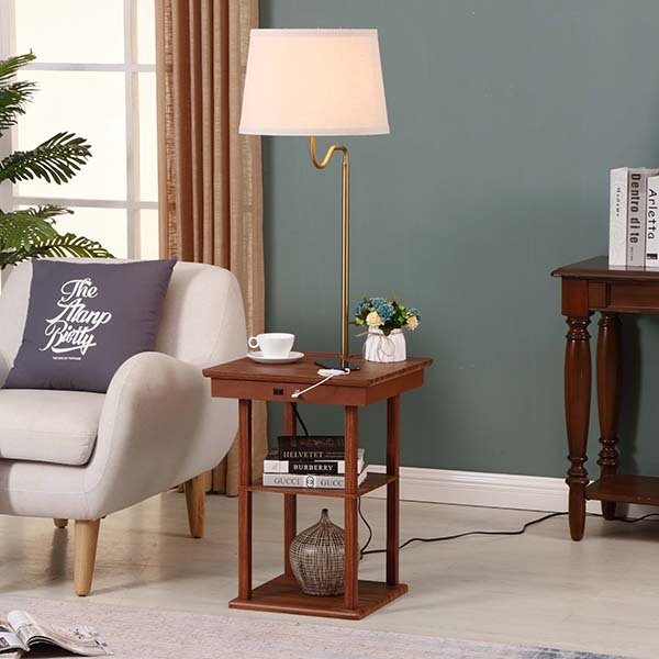 Wanult Bedside Table Lamp with Beige fabric Shade and Useful USB fast Charging Port 4
