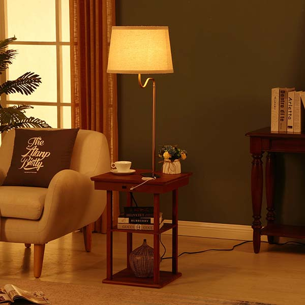 Wanult Bedside Table Lamp with Beige fabric Shade and Useful USB fast Charging Port 5