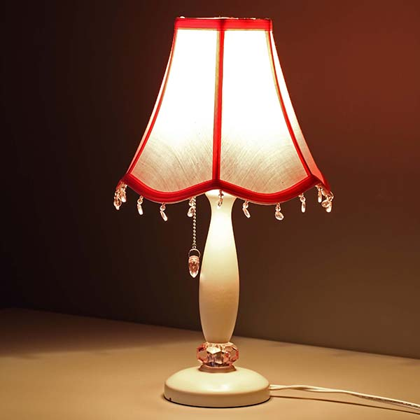 Women Girls Table Lamp with Pink shade and crystal pendant 3
