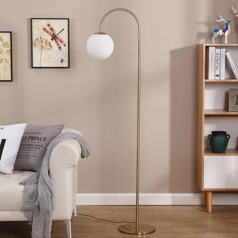 Arc Floor Lamp White Globe Goodly